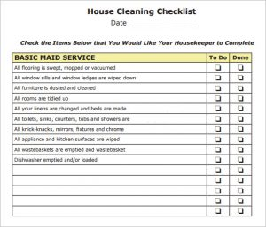 house cleaning checklist pdf house keeping cleaning checklist