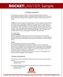 house rental agreement template sample co tenancy agreement form template