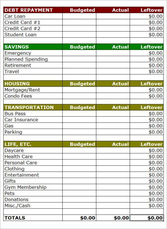 household budget template printable
