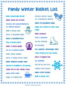 household inventory list family winter bucket list