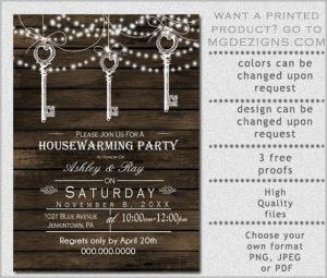 housewarming invitation template vintage keys hanging rustic housewarming party invitation