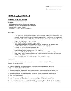 how to write a chemistry lab report topic chemical reactions lab