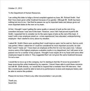how to write a formal complaint letter unfair treatment letter of complaint