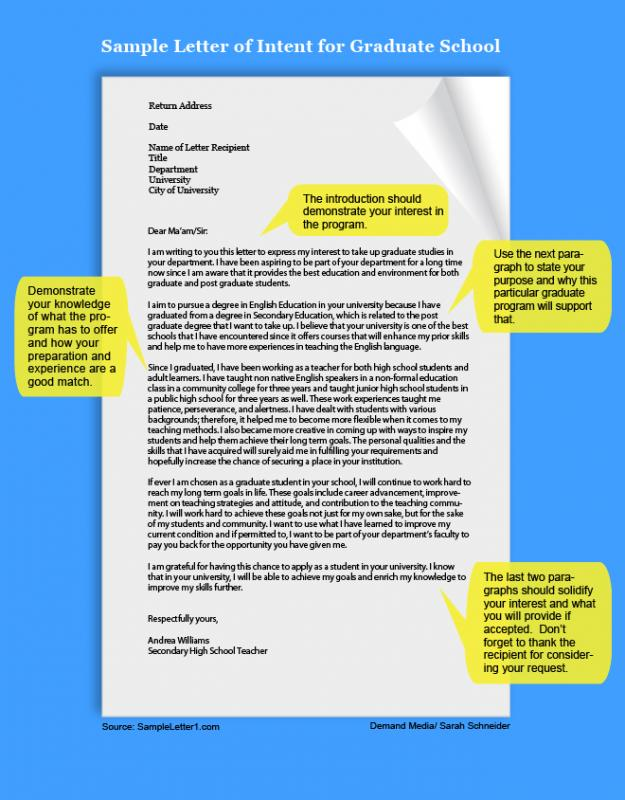 how to write a letter of intent for graduate school
