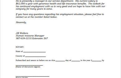 how to write a notarized letter sample notarized letter of employment template pdf printable