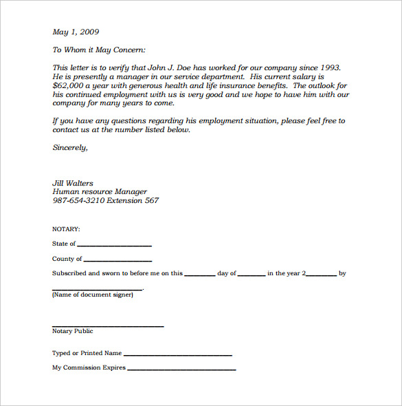 how to write a notarized letter