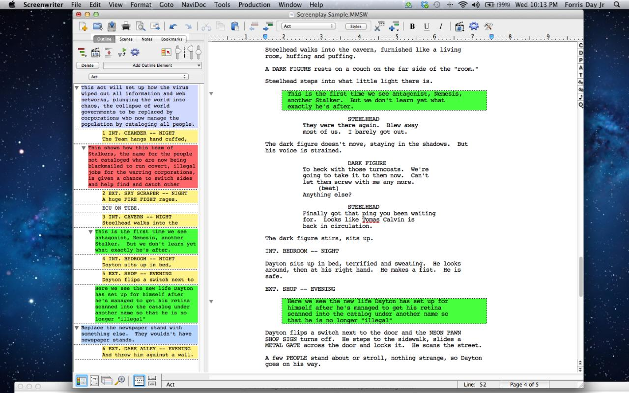 how to write a script format