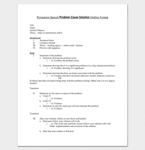 how to write a speech outline persuasive speech problem cause solution outline format