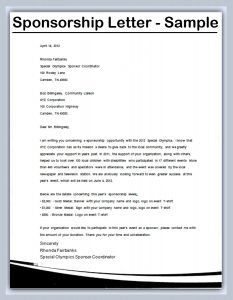 how to write a sponsorship letter sponsorship letter