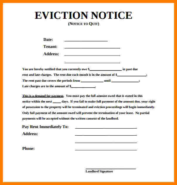 how to write an eviction notice