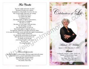how to write an obituary for mother celebration of life program sample page