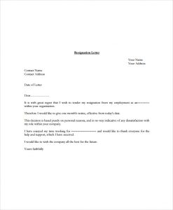 how to write letter of intent free standard resignation letter