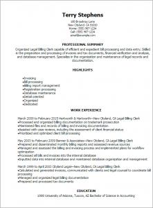 human resources resumes samples legal billing clerk resume professional summary