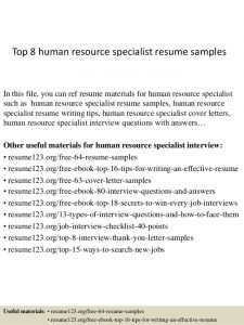 human resources resumes samples top human resource specialist resume samples