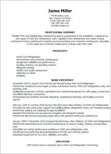 hvac resume samples hvac and refrigeration resume