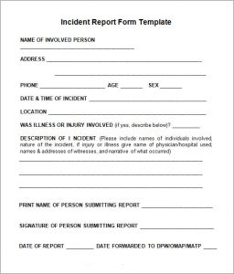 incident report example incident report form template