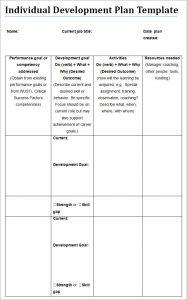 individual development plan development plan individual template