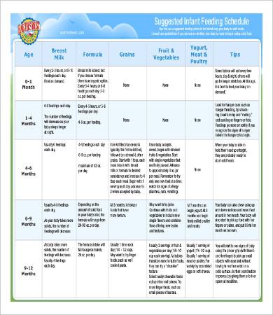 infant feeding schedule