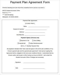 installment payment agreement payment plan agreement form