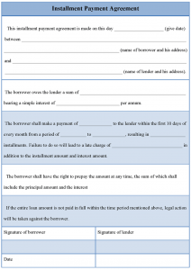 installment payment agreement template installment payment agreement template
