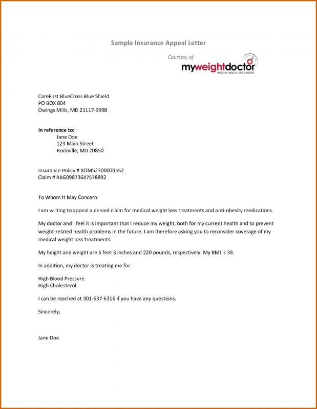 Insurance Appeal Letter | Template Business