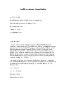 insurance appeal letter health insurance appeal letter
