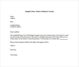 intent to vacate letter intent to vacate letter pdf