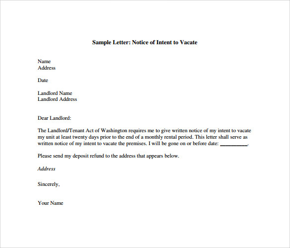 intent to vacate letter