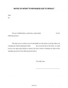 intent to vacate letter notice of intent to repossess due to default
