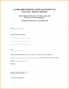 intent to vacate letter notice to vacate form day notice to vacate apartment sample