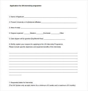 internship application template application for un internship programme word document free download
