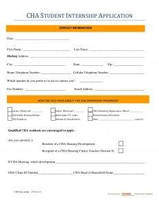 internship application template cha student internship program application summer