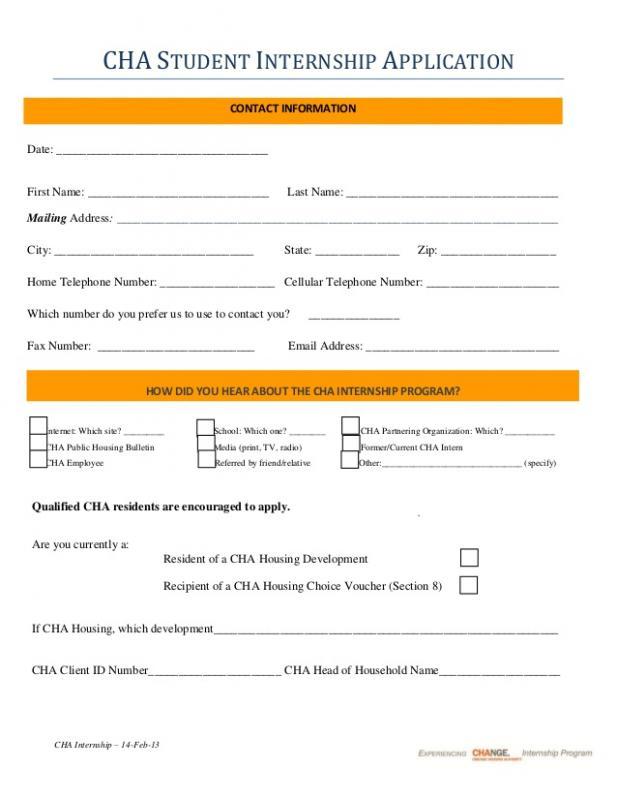 internship application template