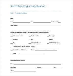 internship application template internship program application template free download