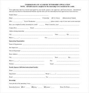 internship application template under graduate internship application form pdf free download