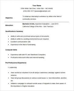 internship resume template sample student internship resume