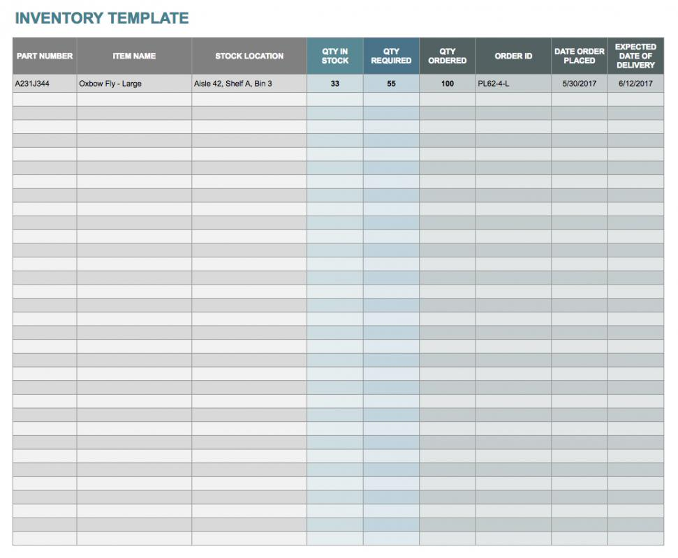 inventory template google sheets