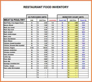 inventory tracking spreadsheet food inventory spreadsheet restaurant inventory list