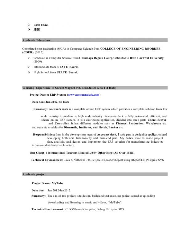 Java Developer Resume Template Business