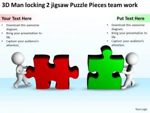jigsaw puzzle templates d man locking jigsaw puzzle pieces team work ppt graphics icons slide