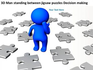 jigsaw puzzle templates d man standing between jigsaw puzzles decision making ppt graphics icons slide