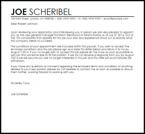 job acceptance letter from employer job appointment letter
