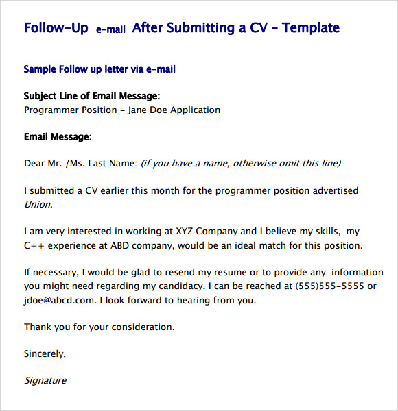 job application follow up email sample