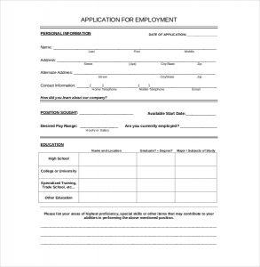 job application form template employement application template download