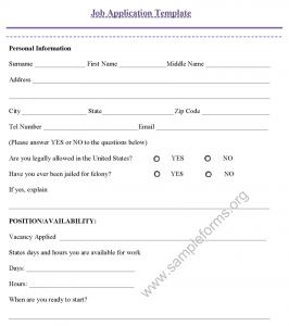 job application form template job application template