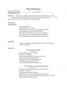 job application template word professional valet attendant resume l