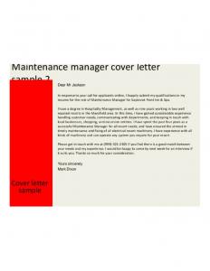 job description templates preventive maintenance manager cover letter l