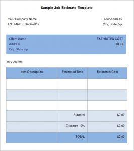 job estimate template free job estimte template download