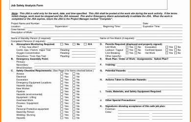job hazard analysis form job hazard analysis form