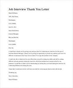 job interview thank you letter job interview thank you letter